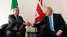 Friendly: Taoiseach Leo Varadakar meets Prime Minister Boris Johnson on the sidelines of the UN General Assembly in New York. Photo: Stefan Rousseau/PA
