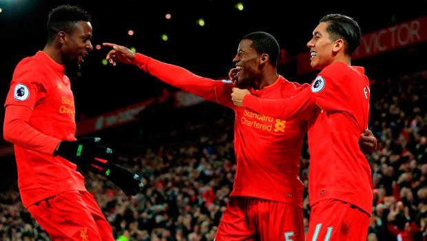 Liverpool's Georginio Wijnaldum celebrates scoring his side's third goal