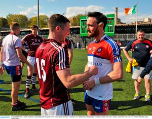 3 May 2015; Galway's Danny Cummins is congratulated after the game by New York's Ronan McGinley. Connacht GAA Football Senior Championship, Preliminary Round, New York v Galway. Gaelic Park, New York, USA. Picture credit: Ray Ryan / SPORTSFILE