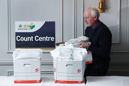 Anthony Clinton delivers ballot papers to the IFA Count Centre in the Castleknock Hotel ahead of the count to elect the 16th President of the organsiation. Picture: Finbarr O'Rourke