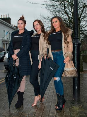 Babestation's Priya Young, Alexa Brooke and Vicky Narni arrive in Westport, Co.Mayo to apologise for phone mix-up. Pic: Michael Mc laughlin