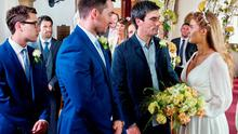 FROM ITV  STRICT EMBARGO -TV Listings Magazines & websites Tuesday 28 July 2015, Newspapers Saturday 1 August 2015  Emmerdale - Ep 725253  Tuesday 4 August 2015   The music begins to play as Debbie Dingle [CHARLEY WEBB] and Cain Dingle [JEFF HORDLEY] walk down the aisle arm in arm. Debbie beams at Pete Barton [ANTHONY QUINLAN], relieved she seems to have managed to avoid disaster.  Picture contact: david.crook@itv.com on 0161 952 6214  Photographer - Amy Brammall  This photograph is (C) ITV Plc and can only be reproduced for editorial purposes directly in connection with the programme or event mentioned above, or ITV plc. Once made available by ITV plc Picture Desk, this photograph can be reproduced once only up until the transmission [TX] date and no reproduction fee will be charged. Any subsequent usage may incur a fee. This photograph must not be manipulated [excluding basic cropping] in a manner which alters the visual appearance of the person photographed deemed detrimental or inappropriate by ITV plc Picture Desk. This photograph must not be syndicated to any other company, publication or website, or permanently archived, without the express written permission of ITV Plc Picture Desk. Full Terms and conditions are available on the website www.itvpictures.com