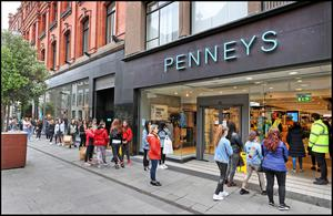 Shoppers outside Penneys yesterday.