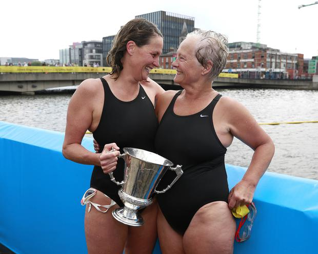 Sinead Delaney is congratulated by her mum, Joan after finishing in first place in the ladies section of the swim in Dublin  Picture credit; Damien Eagers / INM