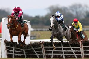 Pique Sous, with Paul Townend up (blue and white colours) on the way to winning the Rathbarry and Glenview Studs Hurdle from Cops And Robbers (Davy Russell) at Fairyhouse