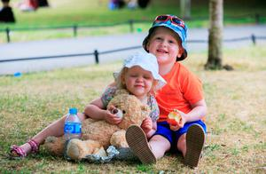 Oisin (4) and sister Aoibheann McPeake, from Antrim, in St Stephen's Green.