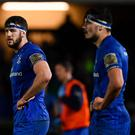 Caelan Doris, left, and Max Deegan are in a selection battle in the Leinster back row. Photo by Ramsey Cardy/Sportsfile