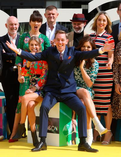 16/8/2018 RTE announce New Season Launch - front L-R Ryan Tubridy (Center) sits in between Amy Huberman and Doireann Garrihy, Back Row L-R: Ray D'Arcy, Jennifer Zamparelli, Brendan O Connor, Tommy Tiernan and Kathryn Thomas.Pic: Collins