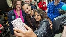 Taoiseach Leo Varadkar with Athlone FG candidate Gab McFadden and Sirisha Kandarpa, Athlone