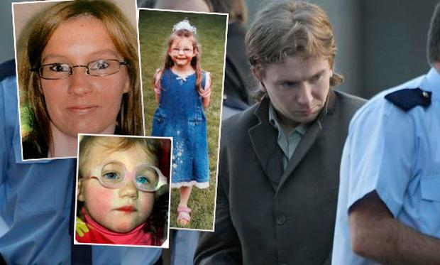 Inset: Victims mum Sharon Whelan and her two daughters, Zarah (seven) and Nadia. Main: Brian Hennessy