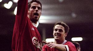 6 Nov 1999: Jamie Redknapp of Liverpool celebrates his goal against Derby County with team mate Michael Owen during the FA Carling Premiership match at Anfield in Liverpool, England. Liverpool won 2-0. \ Mandatory Credit: Clive Brunskill /Allsport
