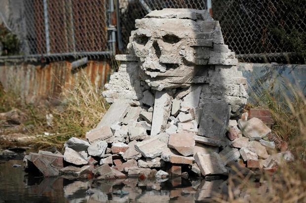 A rock formation by British graffiti artist Banksy is seen in the Queens borough of New York