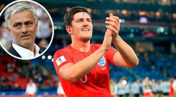 Harry Maguire and (inset) Jose Mourinho