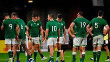Ireland players following the 2019 Rugby World Cup Pool A defeat to Japan