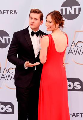 Allen Leech (L) and Jessica Herman attend the 25th Annual Screen ActorsGuild Awards at The Shrine Auditorium on January 27, 2019 in Los Angeles, California. 480645  (Photo by Gregg DeGuire/Getty Images for Turner)