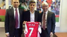 First signing: Vlad Dragomir has cost Arsenal £71,000