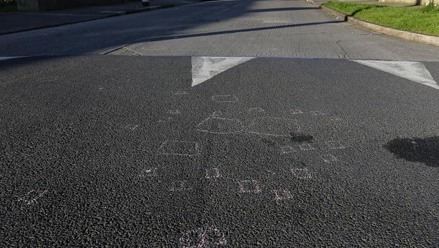 Evidence marks at the scene of a hit and run on Hazelwood Drive, Kilmore, Coolock (Image: Frank Mc Grath)
