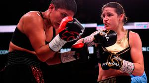 Katie Taylor, right, and Cindy Serrano during their WBA & IBF Female Lightweight World title bout at TD Garden in Boston, Massachusetts, USA. Photo by Stephen McCarthy/Sportsfile