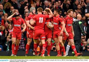 14 March 2015; Jonathon Davies, Wales, is congratulated by Liam Williams, 11, after scoring his side's first try. RBS Six Nations Rugby Championship, Wales v Ireland, Millennium Stadium, Cardiff, Wales.