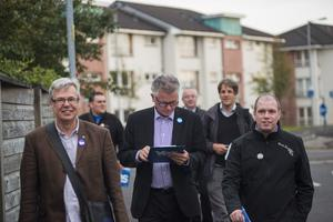 Kim Bielenberg (back, right) on the trail with the Yes campaign in Glasgow
