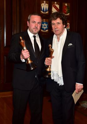 Love Hate Writer Stuart Carolan with Stephen Rae at the IFTA Awards 2015 at the Mansion House, Dublin. Photo by Michael Chester
