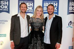 Sinead Moriarty with Dave and Stephen Flynn at the Bord Gais Energy Irish Book Awards at the Double Tree by Hilton Hotel in Dublin. Picture: Arthur Carron