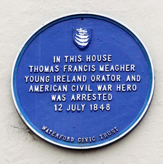 A plaque at the house in Waterford where Meagher was arrested. Photo: Patrick Browne