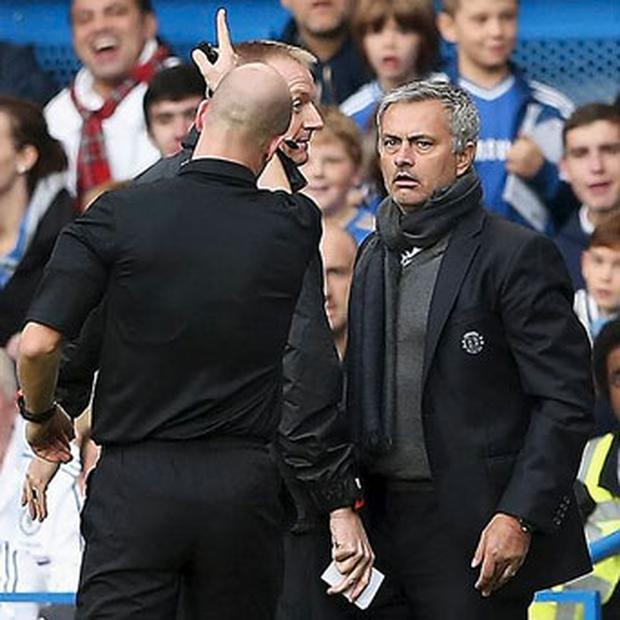 Chelsea manager Jose Mourinho is sent off by referee Anthony Taylor during the Barclays Premier League match between Chelsea and Cardiff City