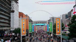 The Red Arrows fly by ahead of the UEFA Euro 2020 Final at Wembley Stadium, London. Zac Goodwin/PA Wire.