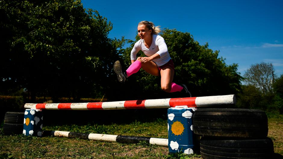 Irish athlete Molly Scott during a training session at her home in Carlow on Tuesday May 19 while adhering to the guidelines of social distancing set down by the Health Service Executive. Photo: Harry Murphy/Sportsfile