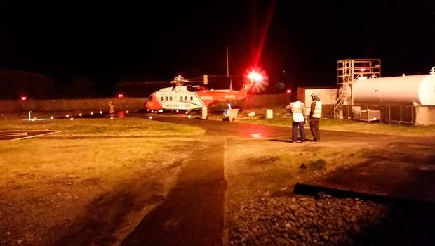 A Rescue helicopter at Blacksod this morning. Picture Fergus Sweeney