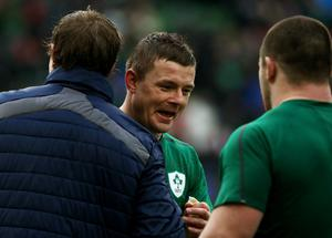 Ireland's Brian O'Driscoll (centre) after victory over Wales during the RBS 6 Nations match at the Aviva Stadium,