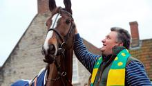 Kauto Star with trainer Paul Nicholls outside the Manor House Inn, Ditcheat.