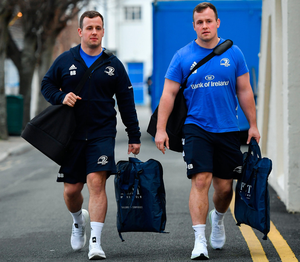 Bryan Byrne has left Leinster to play with Bristol until the end of the season, but twin Ed (right) is staying put for now. Photo: Sportsfile