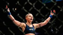 Rose Namajunas celebrates her victory over Joanna Jedrzejczyk of Poland in their UFC women's strawweight championship bout during the UFC 217 event at Madison Square Garden on November 4, 2017 in New York City.  (Photo by Mike Stobe/Getty Images)