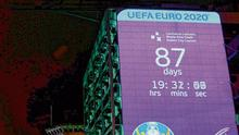 Sign of the times: A Euro 2020 countdown clock is still ticking away on a Dublin City Council office building on Palace Street towards an incorrect date. Photo: Stephen McCarthy/Sportsfile