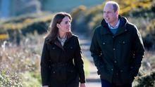 The Duke and Duchess of Cambridge on the cliff walk during a visit to Howth Head in Co. Dublin, as part of their three day visit to Ireland. Photo: Chris Jackson/PA Wire