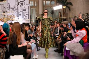 Models on the catwalk during the Paul Costelloe show at the London Fashion Week February 2020 show at The Waldorf in London