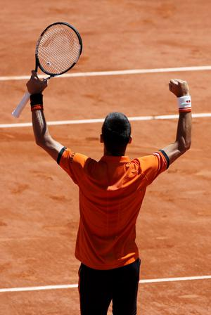 Novak Djokovic of Serbia celebrates after defeating Andy Murray of Britain during their men's semi-final match at the French Open tennis tournament at the Roland Garros stadium in Paris, France, June 6, 2015.        REUTERS/Jean-Paul Pelissier