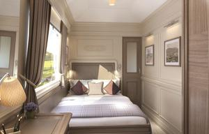 A cabin on the luxury sleeper train.