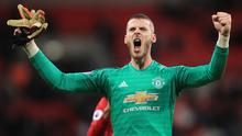 David de Gea of Manchester United  celebrates the win after defying Tottenham Hotspur at Wembley Stadium. (Photo by Marc Atkins/Getty Images)