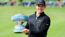 Rory McIlroy lifts the Walter Hagen Cup after defeating Gary Woodland 4&2 in the championship match of the World Golf Championships Cadillac Match Play at TPC Harding Park, San Francisco, California