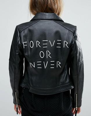 Forever or Never leather jacket from asos
