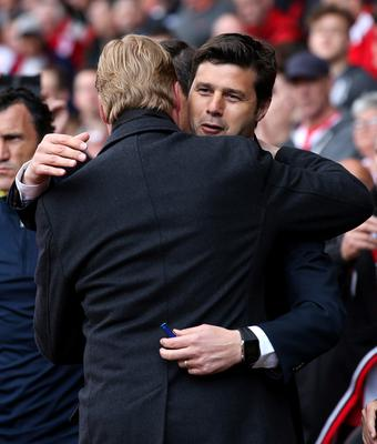 "Football - Southampton v Tottenham Hotspur - Barclays Premier League - St Mary's Stadium - 25/4/15 Southampton's Manager Ronald Koeman and Tottenham's Manager Mauricio Pochettino before the start of the match Action Images via Reuters / Paul Childs Livepic EDITORIAL USE ONLY. No use with unauthorized audio, video, data, fixture lists, club/league logos or ""live"" services. Online in-match use limited to 45 images, no video emulation. No use in betting, games or single club/league/player publications.  Please contact your account representative for further details."