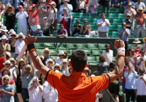 Serbia's Novak Djokovic celebrates winning the semifinal match of the French Open tennis tournament against Britain's Andy Murray in five sets 6-3, 6-3, 5-7, 5-7, 6-1, at the Roland Garros stadium, in Paris, France, Saturday, June 6, 2015. (AP Photo/David Vincent)