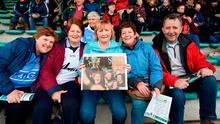 Dublin fans Brenda Byrne, Linda Coventry, Dolores Caffrey and Helen Walsh, all from Blanchardstown, with Saturday's Irish Independent in Tralee. Photo: Diarmuid Greene/Sportsfile
