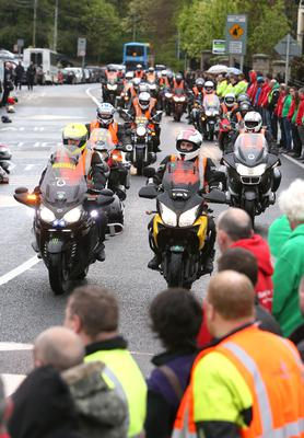 A convoy of motorbikes arrive ahead of the hearse at St Marys Church in Lucan for the funeral of Aiden Lynam, co-founder of Rev-Up4DSI. Picture credit; Damien Eagers 6/5/2015