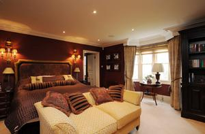 The master bedroom with panoramic views of the River Deben through the bay window.