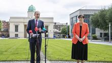 'Reopening for the long haul': Taoiseach Micheál Martin and Education Minister Norma Foley at the Department of Education to reveal a plan for schools reopening. Photo: Julian Behal