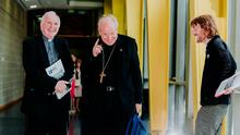 Bishop of Limerick Brendan Leary, Cardinal Christoph Schönborn, Archbishop of Vienna and Fr Chris O Donnell pictured at the 'Let's Talk Family: Let's Be Family' conference in Mary Immaculate College, Limerick. Photo: Brian Arthur